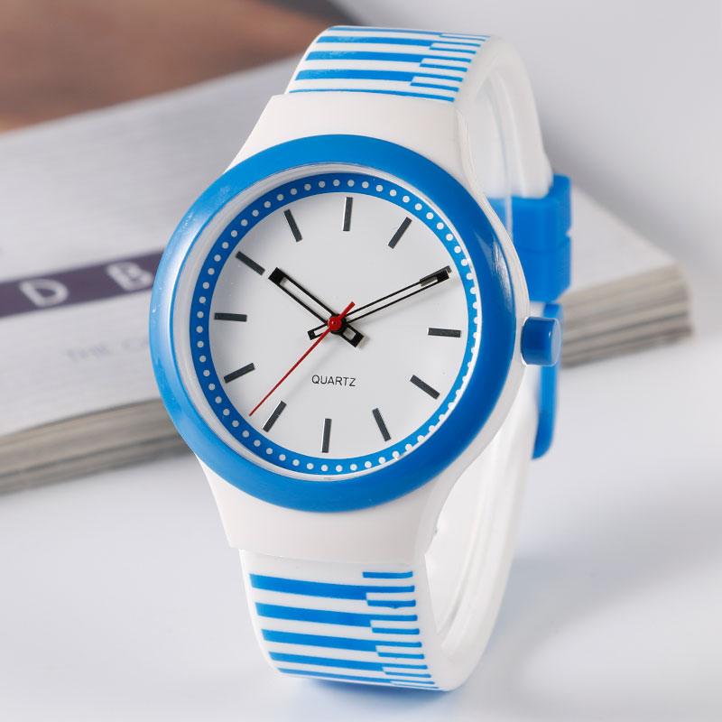 2016 Popular Blue Unique Analog Wrist Watch Casual Sports Wristwatches Women Silicone Waterproof Clock Quartz-watch women watch clock silicone rubber reloj jelly blue floral quartz analog sports flower casual wrist watch top brand dress watch