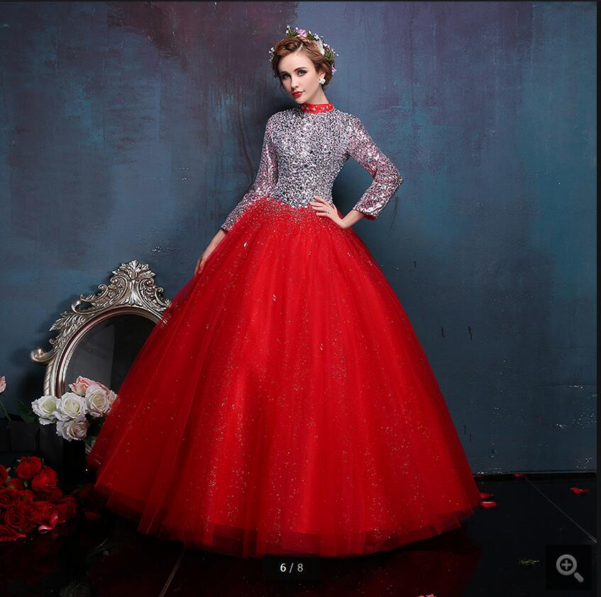 2017 Vestido De Novia red ball gown long sleeve wedding dress hollow back sexy crystals sparkly wedding dresses best selling