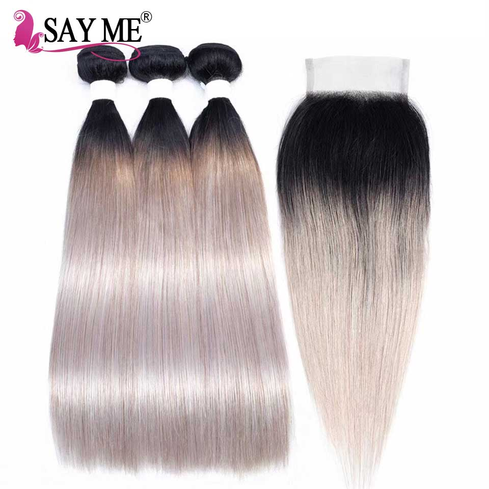 Ombre Bundles With Closure 1B Grey Dark Roots Straight Human Hair Weave Bundles Remy Ombre Brazilian