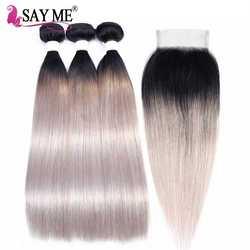 Омбре пучки с закрытием 1B/серый темные корни прямые натуральные волосы плетение пучков Реми Омбре бразильские волосы 3 пучки с закрытием