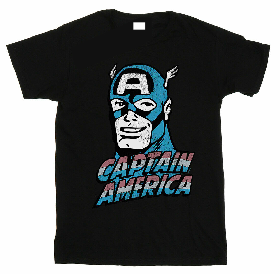 Marvel Men's Captain America Distressed T-Shirt Round Neck Best Selling Male Natural Cotton T Shirt TOP TEE Plus Isze image