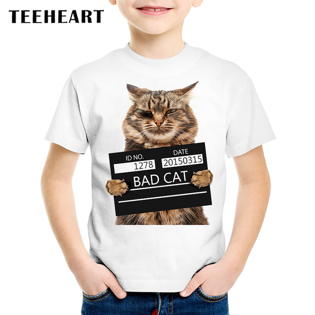 2017 Summer Bad Cat Print Modal T Shirt Kids Funny Animal T Shirts
