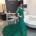 Largas Sirena vestidos de Baile 2017 V Cuello Sexy de Talla grande Verde Esmeralda de Manga Larga de Encaje Vestidos de Noche vestido longo Abendkleider