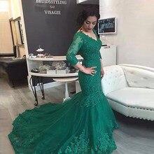 Lange Nixe-abschlussball 2017 V Sexy Plus Size Emerald Green Lange Hülsen-spitze Abendkleider vestido longo