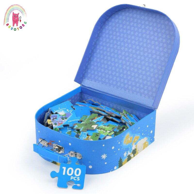 100 pièces/ensemble de carte du monde enfants puzzle puzzle puzzle éducation précoce puzzle géographie apprentissage en bois jouet cadeau
