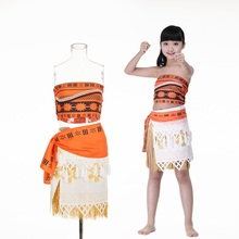 women kids movie Moana princess dress cosplay costume skirt christmas party