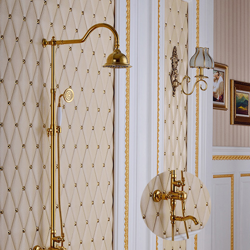 Shower Faucet Sets Rotatable Lifting Type Polished Gold Hot and Cold Water Mixer Taps with Single Holder,Brass