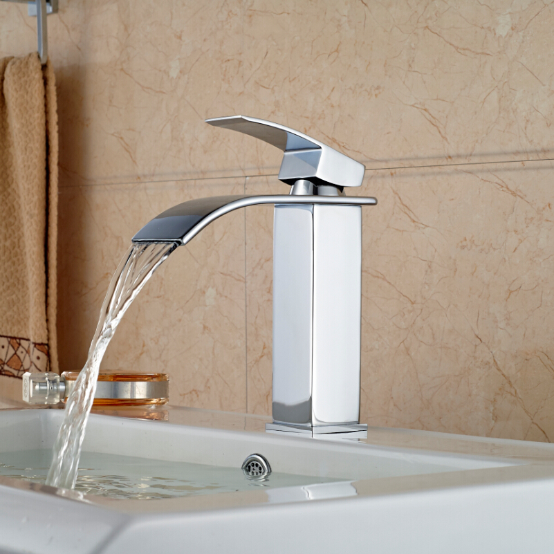 Chrome Finished Waterfall Brass Hot Cold Water Basin Faucet Bathroom Vessel Sink Mixer Taps Single Handle