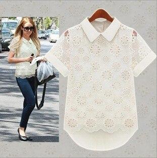 New 2014 Fashion Ladies White Chiffon Blouse Short Sleeve Lapels