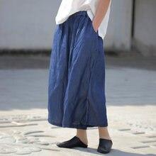 729dee8c85 Women Blue Wide Leg Pants Elastic Waist Trouser Spring New Loose Soft Women  Cloths Pockets Vintage Tencel Pants