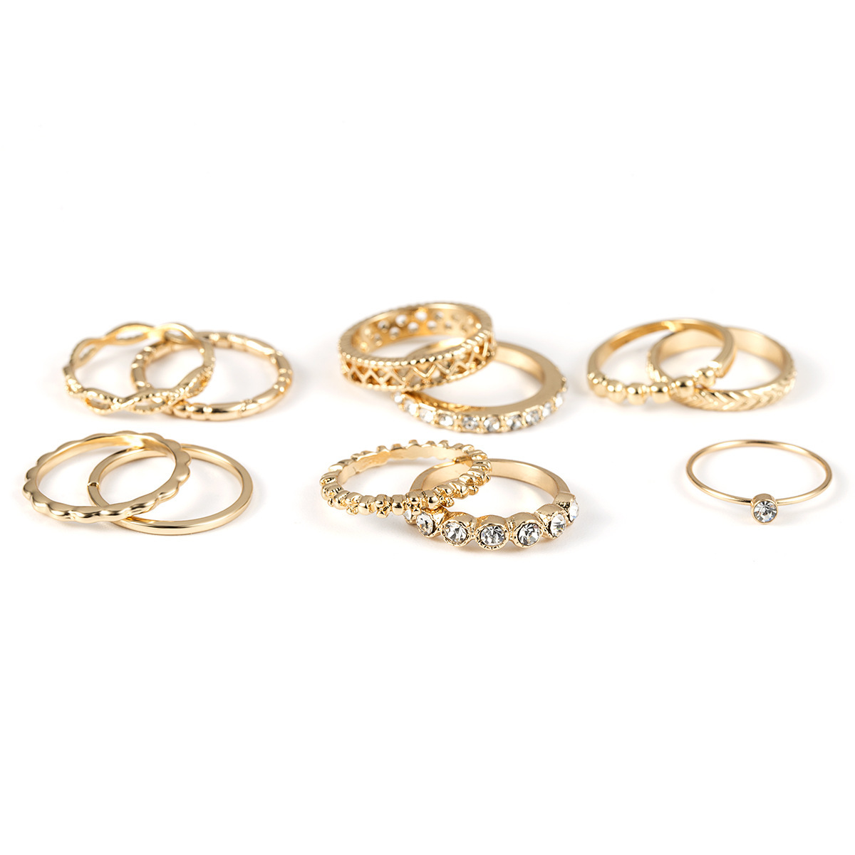 11 Pcs Stackable Bohemian Ring Set Crown Gold Rings for Women Trendy Punk Boho Vintage Crystal Ring Jewelry Accessories in Rings from Jewelry Accessories