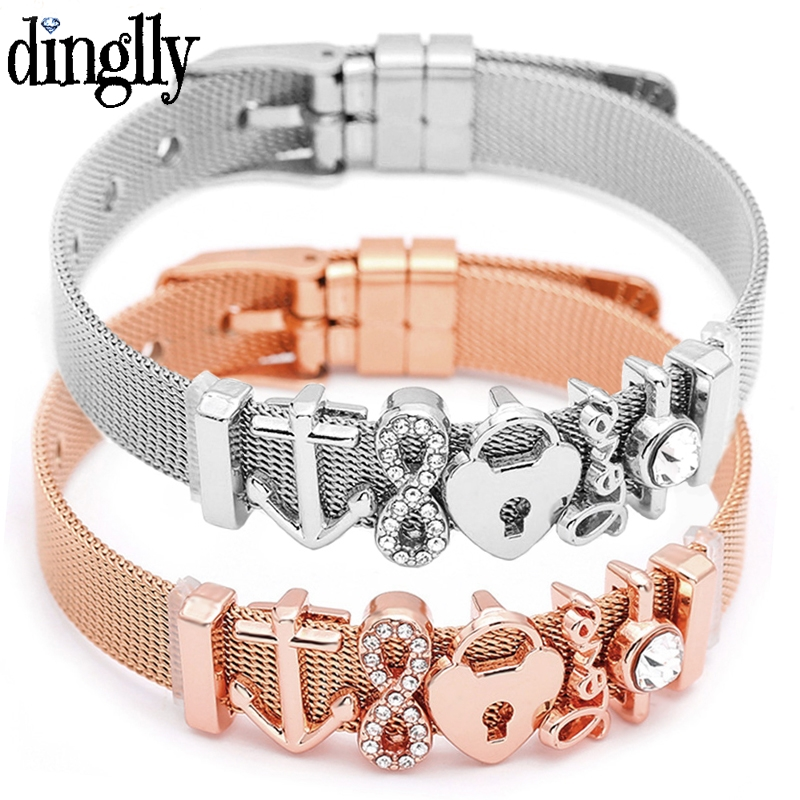 DINGLLY Fashion Stainless Steel Mesh Bracelets For Women Watch Chain Couples Girls Charm Bead Brands Bracelet & Bangles Jewelry(China)