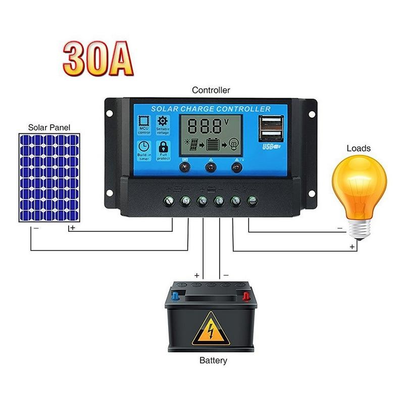 pwm inteligente controlador de carga solar 30 20 10a 12 24v trabalho auto pwm lcd dupla