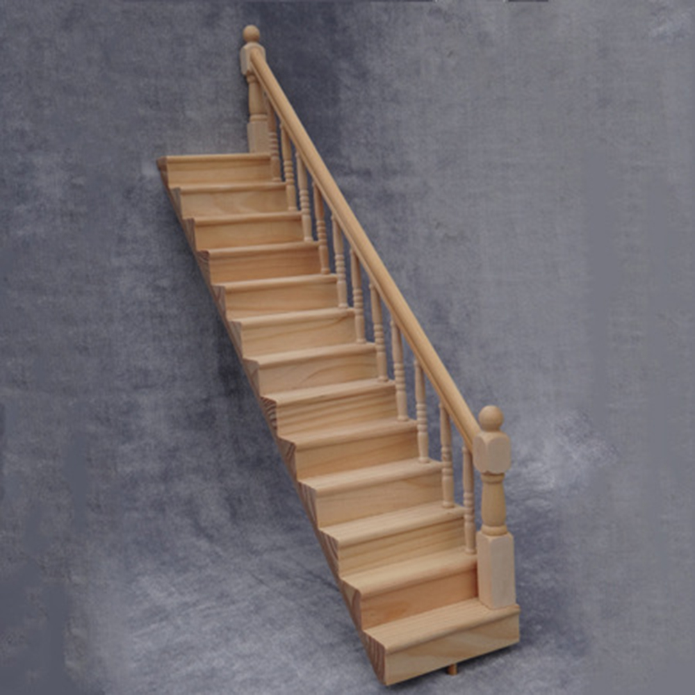 1/12 Dollhouse Miniature Accessories Mini Wooden DIY Villa Staircase Simulation Handrail Furniture Toy for Doll House Decoration