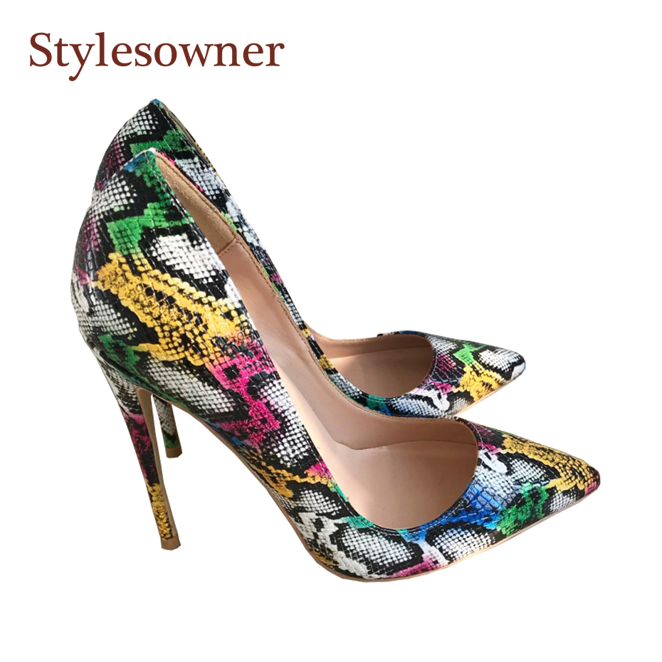 Stylesowner Lady Night Party High Heeled Shoe Color Sanke Pattern Beautiful Sexy Shoes 12cm/10cm/8cm Super High Sapatos MujerStylesowner Lady Night Party High Heeled Shoe Color Sanke Pattern Beautiful Sexy Shoes 12cm/10cm/8cm Super High Sapatos Mujer