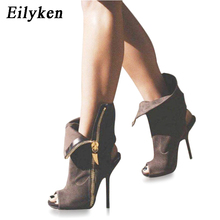 Ellyken mulheres sexy tornozelo botas de lapela frente aberta stilettos bombas peep toe chelsea mulher ankle boots sandálias gladiador