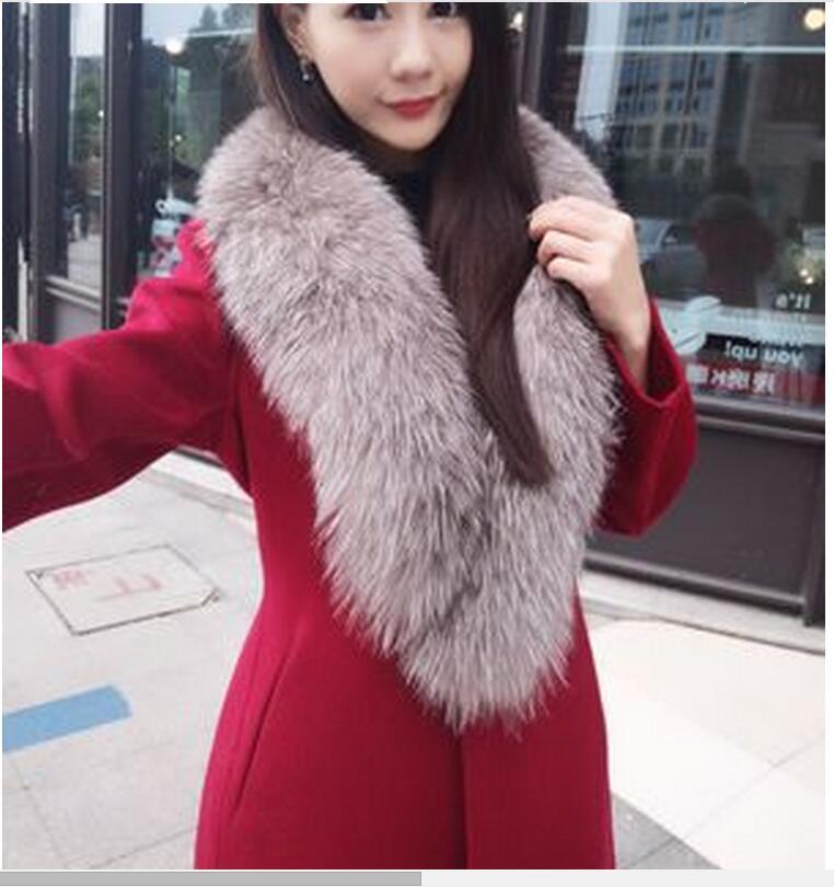 Vihklc Nouvelle Mode Pur Épais Mince camel Manteau Fourrure Long Couleur Manches Laine Wine Fausse Veste Col 2016 Red D'hiver A200 Femmes En fa4xwqfr7P
