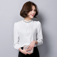 New Women Casual Basic Spring Autumn Lace Chiffon Blouse Bead Top Shirt Full Sleeve OL Blusas