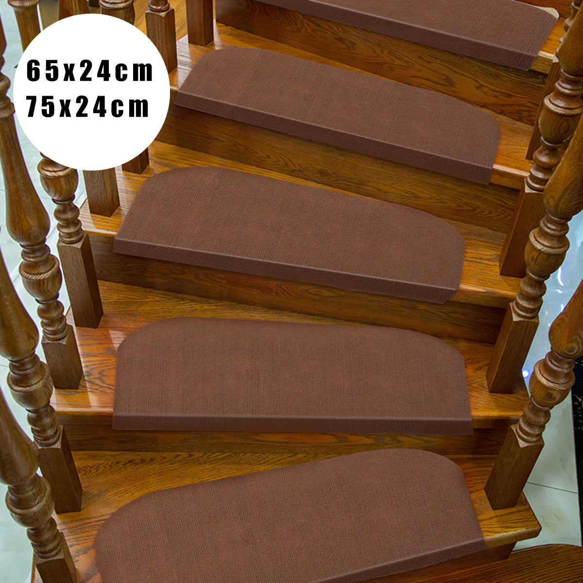 KiWarm 1Pcs Brown Non Slip Carpet Stair Treads Mats Staircase Step Pad Rug  Protection Cover Household Carpet 75x24cm/65x24cm