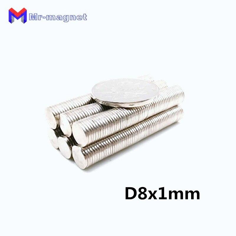 200 шт. 8x1 мм магнит D8 * 1 мощные круглые магниты Диаметр 8x1 мм магнит 8*1 мм Оптовая Продажа d8x1мм D8 * 1 мм 8x1