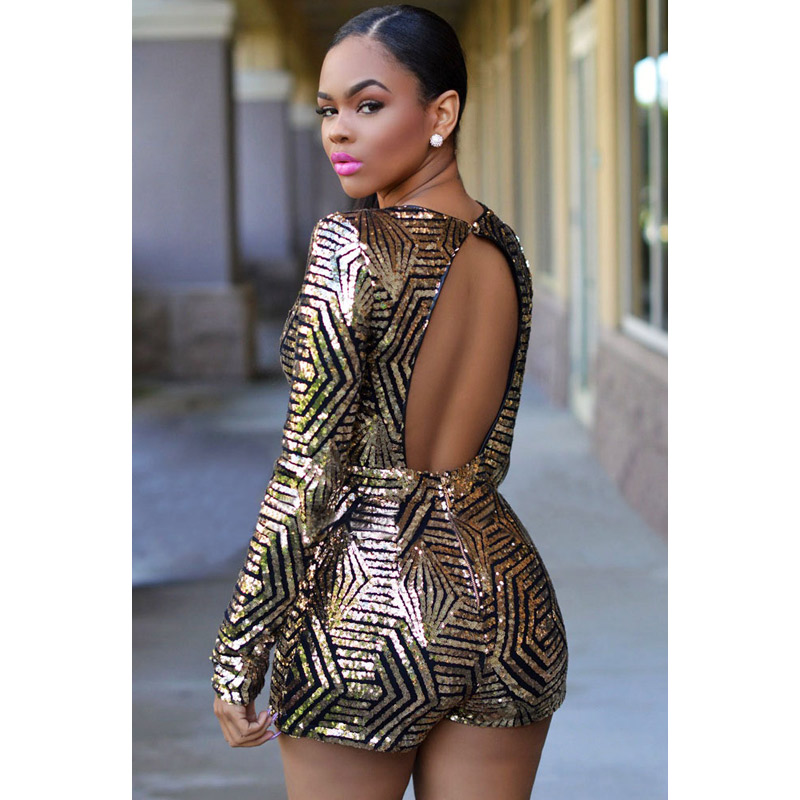 749af8ee2ff1 FGirl Playsuit Overalls Rose Black Gold Sequin Playsuit Women Sexy  Playsuits Body Romper FG30699-in Rompers from Women s Clothing on  Aliexpress.com ...