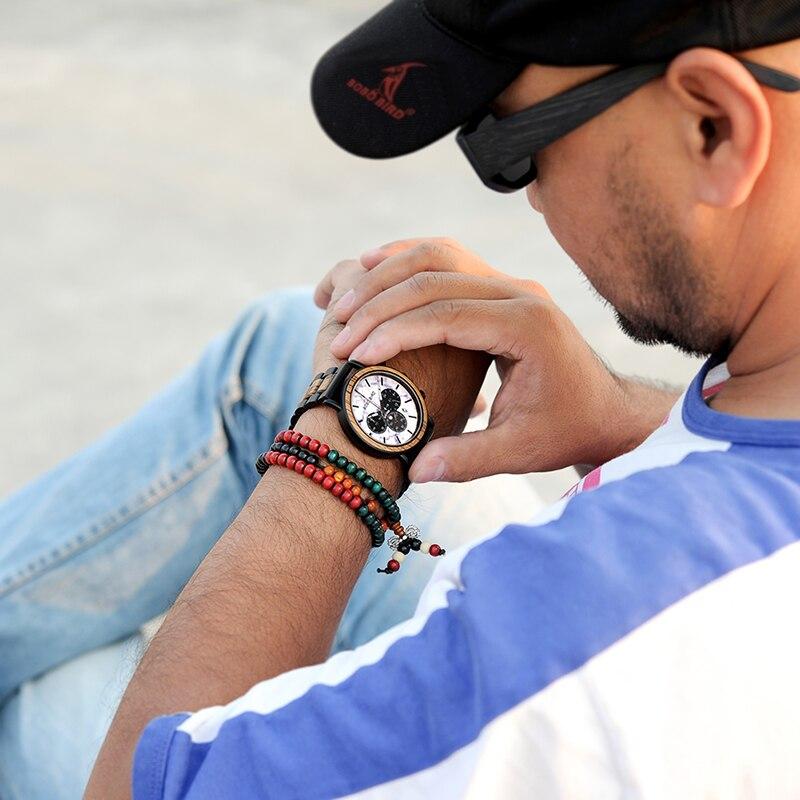 Drewniany zegarek Bobo Bird Marble P09-4 na ręce