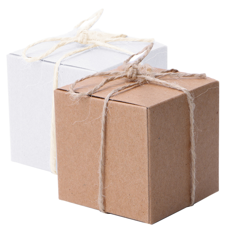 50pcs Kraft Paper Candy Box Square Shape Wedding Favor Gift Party Supply Packaging Bag With Burlap Twine Chic