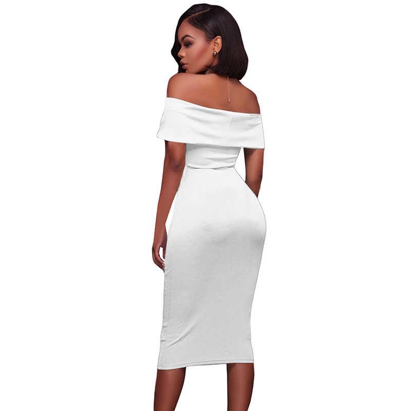 SEBOWEL Sexy Rot/Weiß/Schwarz Off Schulter Bodycon Geraffte Kleid 2019 Frauen Sommer Kurzarm Bardot Party Midi kleider Vestidos