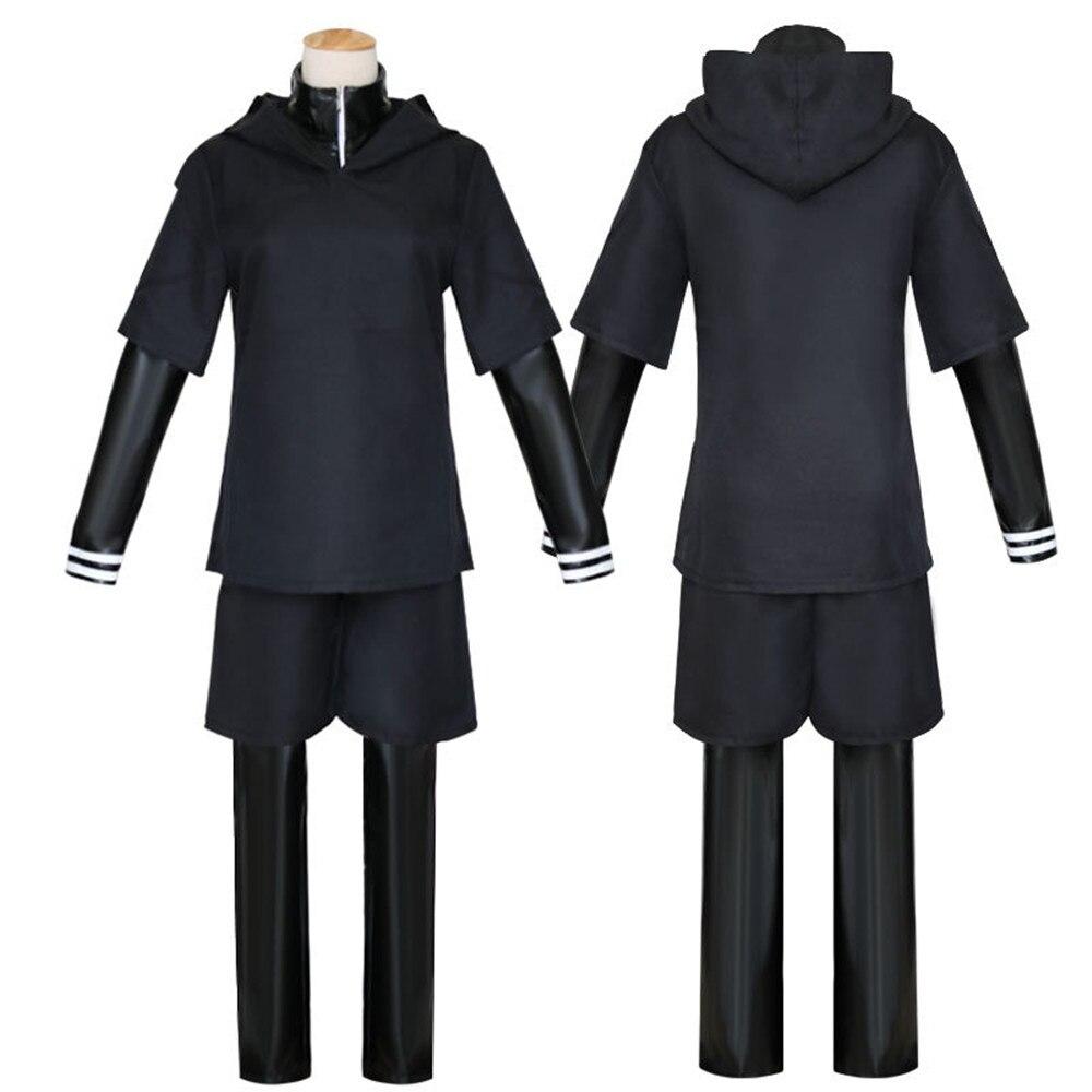 Heerlijk Japanse Anime Tokyo Ghoul Cosplay Kostuums Kaneki Ken Cosplay Kostuums Hoodie Jassen Black Vechten Uniform Volledige Set Met Masker Modieuze Patronen