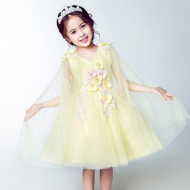 Marca Amarillo niña de las flores vestido de novia Bordado Con ...