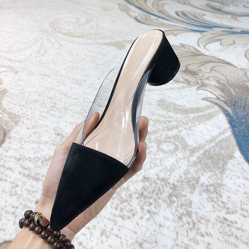 High As Freien Designer De Frauen Mixed Zapatos Frau Pvc Pic Sommer Im Mujer Slipper Flock Schuhe Farbe Heel Sexy Marke Transparent qtTPHwxdH