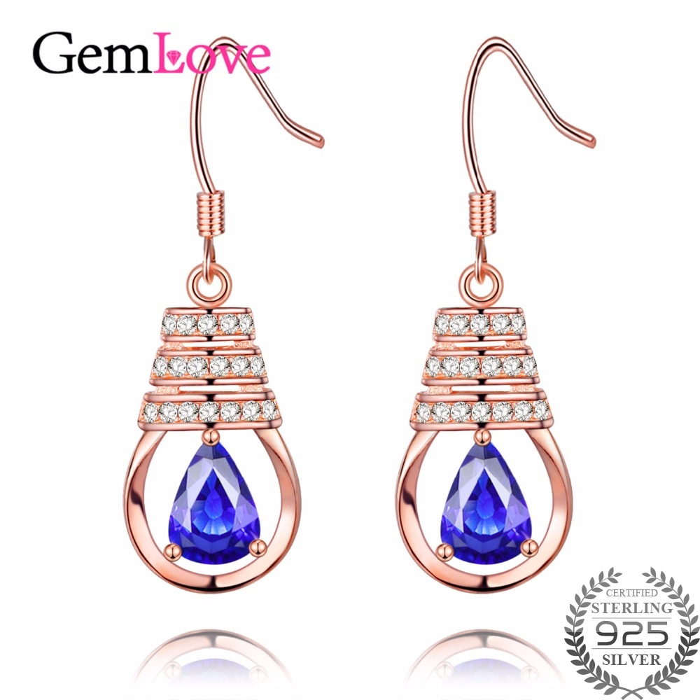 Gemlove 06ct Tanzanite Drop Earrings 925 Sterling Silver Earring Rose Gold  Plated Long Dangle Earrings