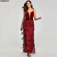 a7abb274e3 YIDINGZS 2019 nuevo lentejuelas borla Sexy vestido de noche largo cuello en  V elegante vestido de