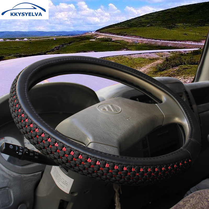 KKYSYELVA funda de volante de cuero de seda para camión de autobús de coche 36 38 40 42 45 47 50 cm de diámetro cubierta de volante automático