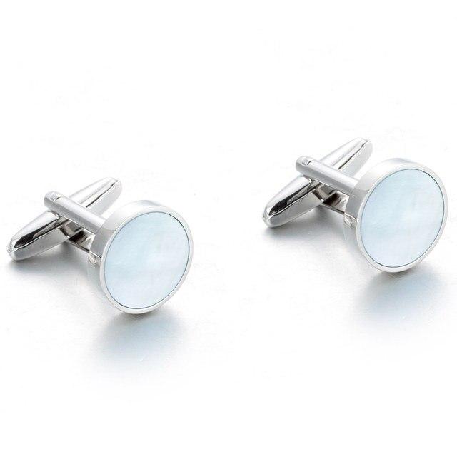 VAGULA excellente qualité boutons de manchette de luxe costume chemise Gemelos bouton bleu mer coquille nacre boutons de manchette 257