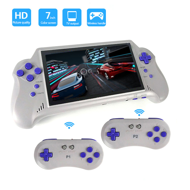 Built-in 121 Classic 8 Bit Game 7 inch LCD Handheld Game Players with 2 Wireless Controllers Support 60 PIN Original Game CardBuilt-in 121 Classic 8 Bit Game 7 inch LCD Handheld Game Players with 2 Wireless Controllers Support 60 PIN Original Game Card