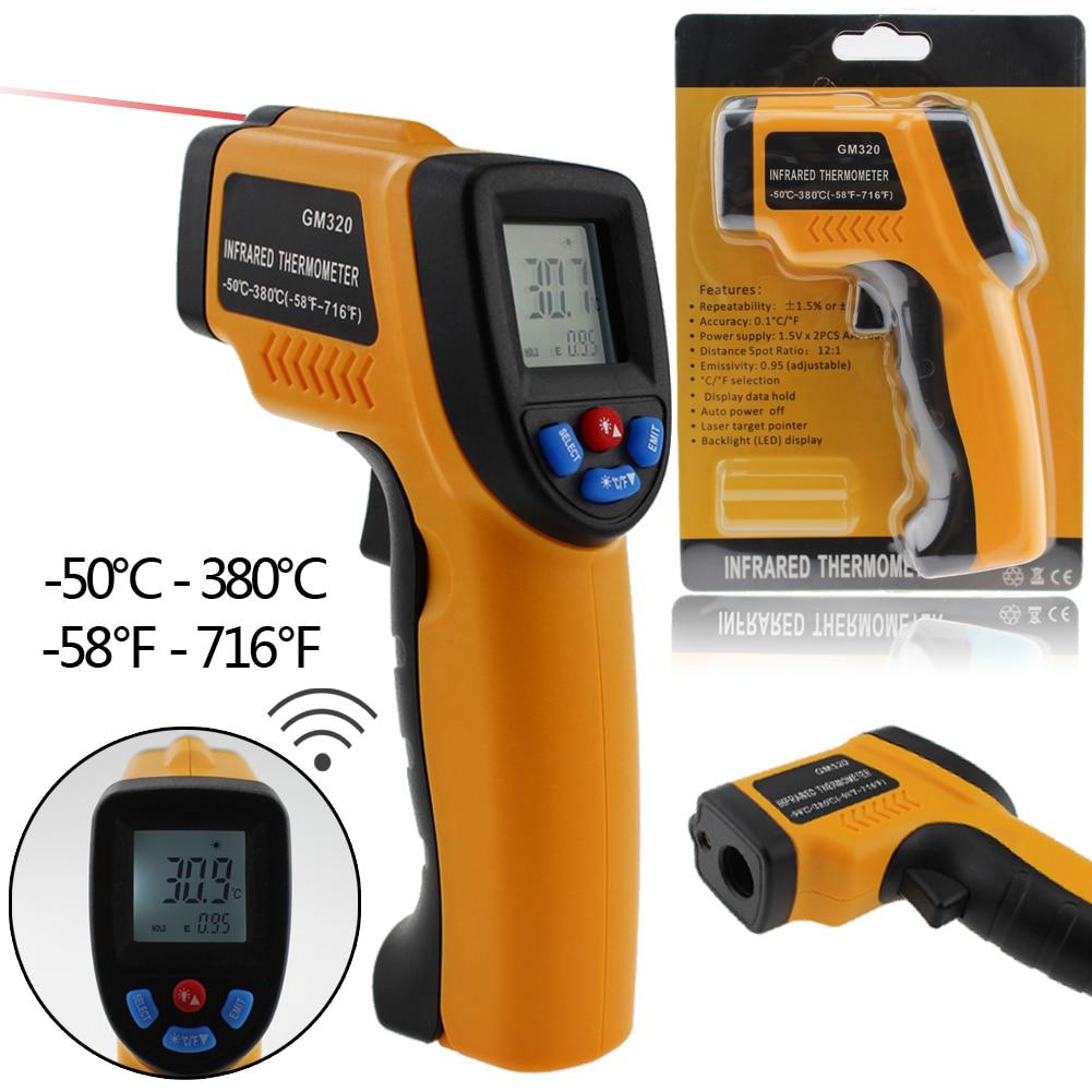 Professionnel Numérique LCD Thermomètre Infrarouge Sans contact IR Température Mesure Pistolet Compteur pour tuyaux d'eau Chaude/pièces de Moteur