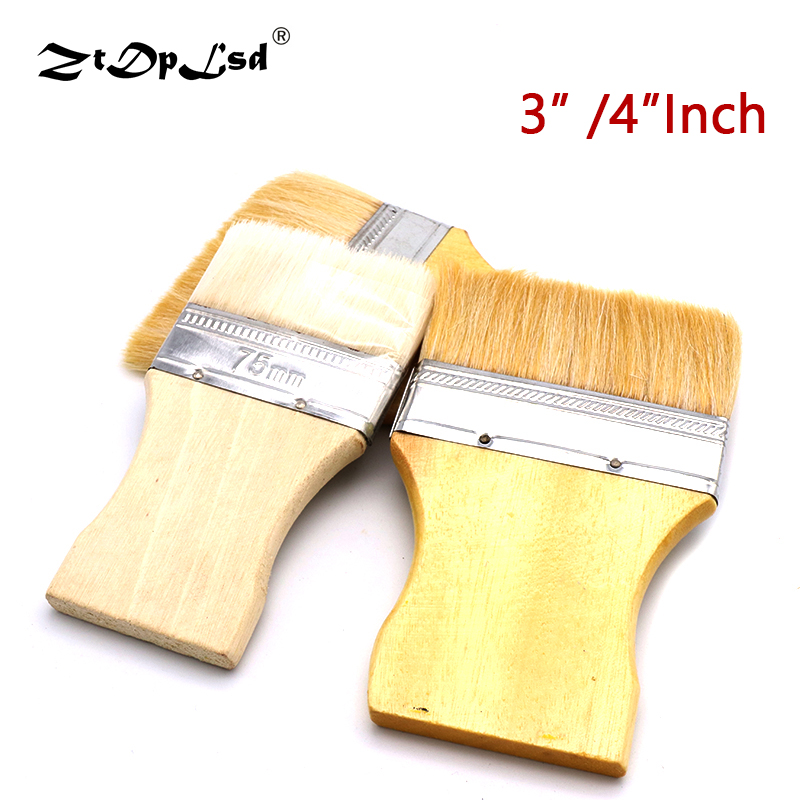 Wide Rectangular Khaki Bamboo Handle White Faux Wool Painting Paint Brush Wooden Decorative Roller Household Wall Tool Artists