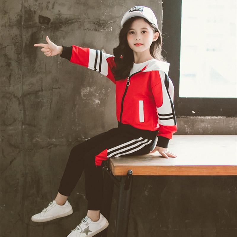 Спортивный костюм для девочек, спортивный костюм, детская мода 2019, куртки в полоску для активного отдыха, куртка на молнии + штаны, комплект детской одежды, осенний комплект одежды|Комплекты одежды| | - AliExpress