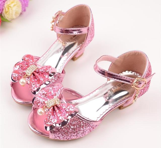 92d483cc1c47 2018 New Kids Girls Leather Bowtie Party Children Princess Sandals Girls  Wedding Shoes High Heels Sandals Shoes