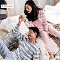 Conjunto de Pijama de algodão Casal Pulôver Ocasional Listrado das Mulheres Homens Sleepwear Pijama Pijamas Amantes de Manga Longa Outono Roupas Casa