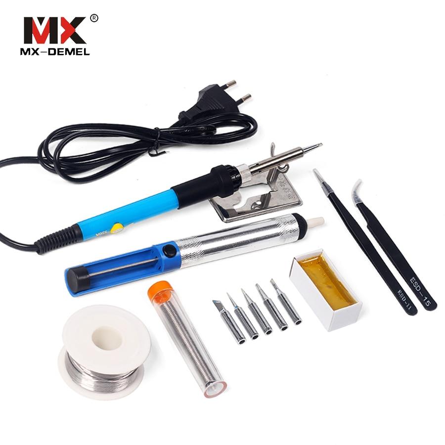 MX-DEMEL 220V 110V 60W Adjustable Temperature Electric Soldering Iron Tip Sets Welding Solder Station Heat Pencil Repair Tools