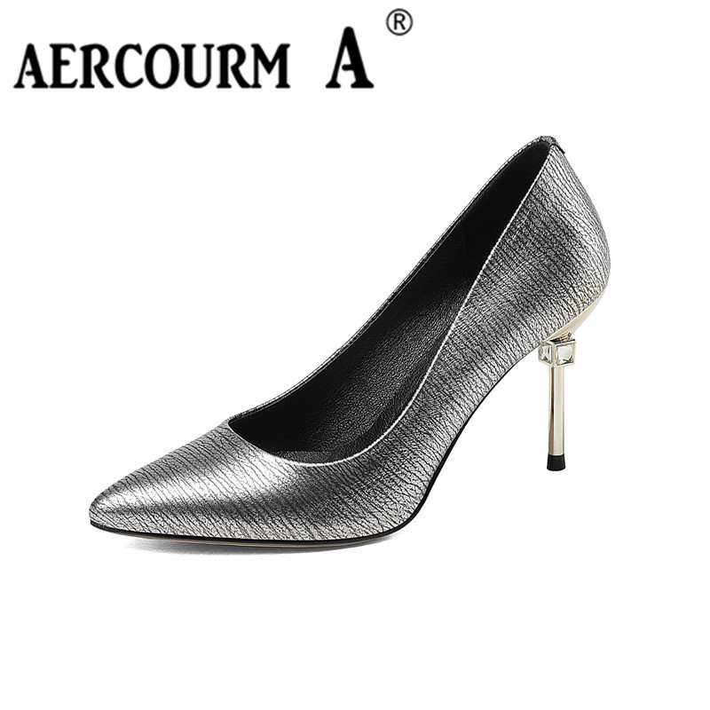 Aercourm A 2017 New Women Genuine Leather Shoes Women High Heel Shoes Solid Pointed Lady Sexy Party Leather Shoes Silver F002 aercourm a 2018 new women genuine leather shoes ladies white pink dress solid shoes thin heel women pointed head pumps fde1121