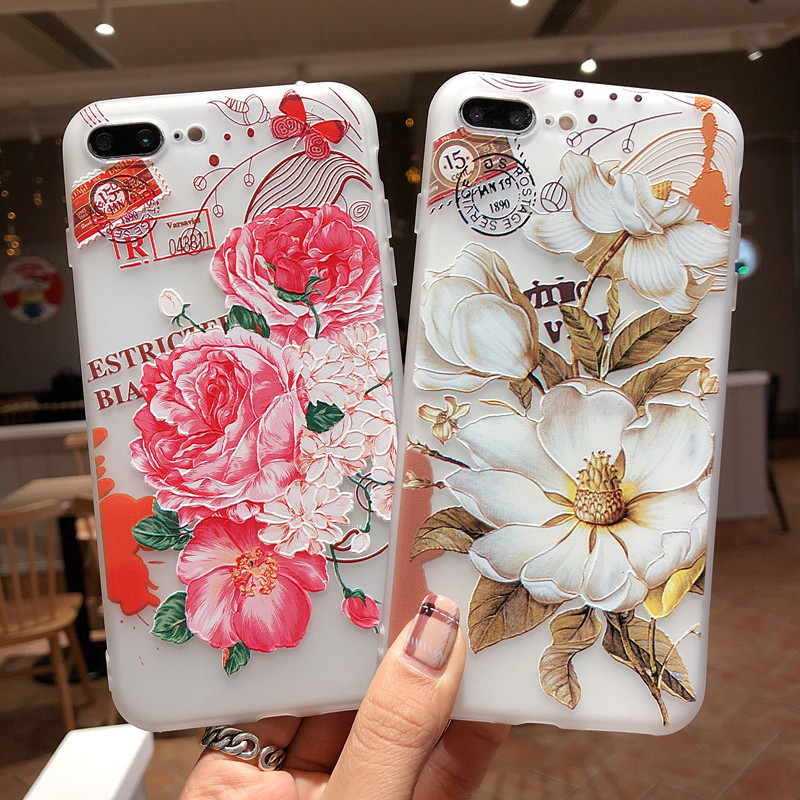 3D Embossed Flowers Patterned Phone case For IPHONE 8PLUS 8 7 PLUS 8 6 6S 6PLUS Soft TPU Silicone For hoesje IPHONE XS MAX XR X in Half wrapped Cases from Cellphones Telecommunications