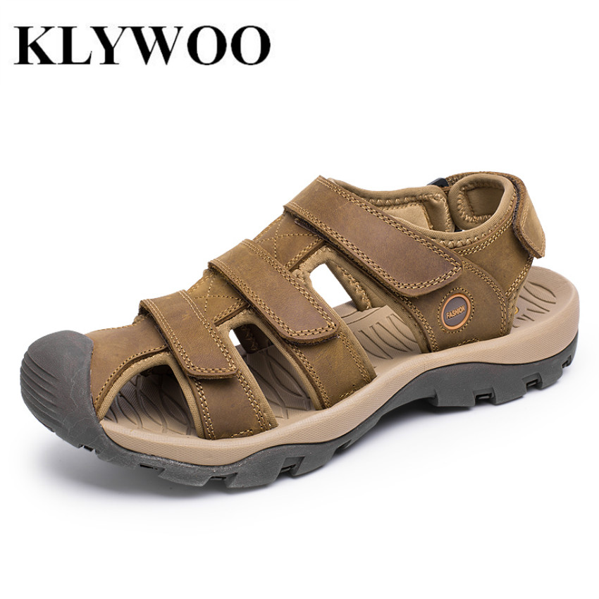 KLYWOO Big Size 38-46 Summer Mens Sandals New Brand Genuine Leather Mens Shoes Slippers Beach Walking Casual Shoes Breathable
