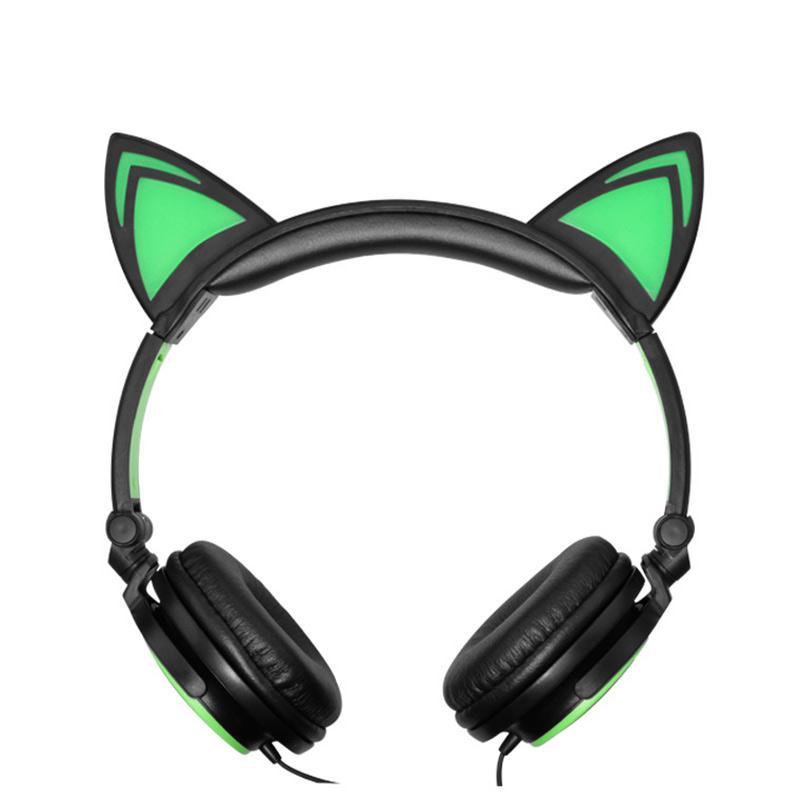 Cat Ears 3.5mm Foldable Glowing Light Up Headband Stereo Headphone Headset