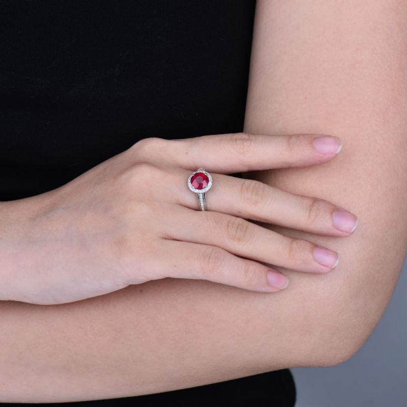 Իրական 14K սպիտակ ոսկու բնական կլոր - Նուրբ զարդեր - Լուսանկար 6