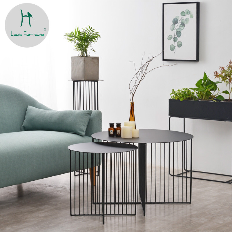 US $105.0  Louis Fashion Nordic Iron Art Circular Tea Small Apartment  Living Room Creative Table Modern Simple Table Coffee-in Coffee Tables from  ...