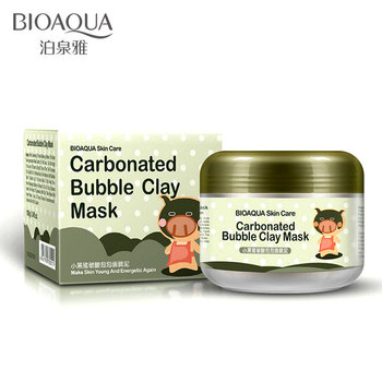 bioaqua Black Pig Carbonated Bubble Clay Mask sleep treatment mask whitening hydration blackheads remover cosmetics face masks the little black pig carbonate bubbles clay mask deep clean and cleaning whitening hydrating