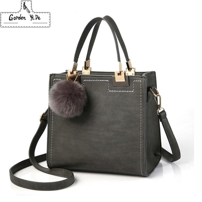 Caliente bolso casuales de las mujeres bolso mujer hombro bolsas de mensajero de cuero de la PU de alta calidad bolso de mano con piel Sac una de las principales